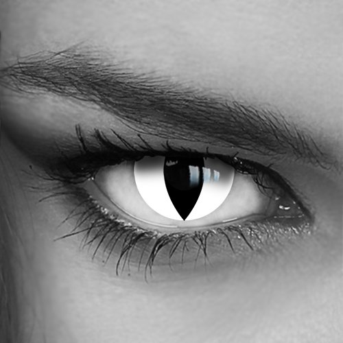 Motivlinsen - Kontaktlinsen farbig - Crazy Fun Helloween Party - White Cat (050) - Katzenaugen - Markenprodukt von LUXDELUX®