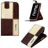 numia Flip Style Handy Tasche für Huawei Ascend Y330 Braun Beige ,Premium Schutz Hülle mit Stand Etui NEU