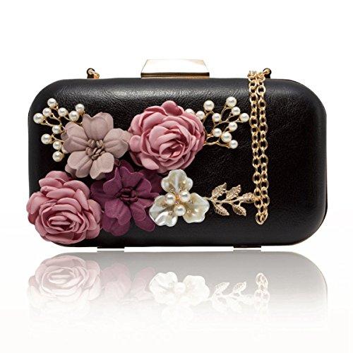 TOOGOO Sacs a main Sacs / a main en cuir de fleur de perle / sac a main d'enveloppe de soiree (noir)