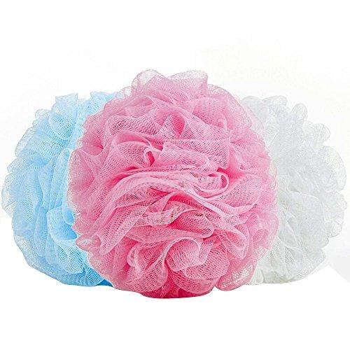 Vococal® 5 Pièces Couleur Unie Nylon Mesh Dos Bain Douche Corps Bubble Ball avec Cordon Couleur Aléatoire