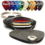 Elagon (KRP) Gitarrengurt Kunstleder Schlüsselanhänger mit Plektrumhalter, 10 verschiedene Plektren (0.46mm 0.7mm 0.81mm 0.96mm 1.20mm) Verschiedene Farben und praktischer Plektrumhalter.