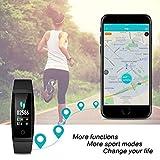 HETP Fitness Armband mit Pulsmesser Fitness Tracker Uhr Wasserdicht IP67 Blutdruckmesser Schrittzähler Uhr Stoppuhr Sport Aktivitätstracker Anruf SMS für Kinder Damen Männer - 5