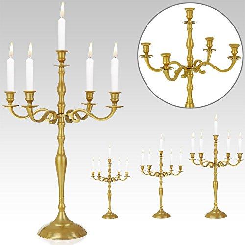 Kerzenleuchter 5-armig Gold 60cm - Kerzenständer Kerzenhalter Kerzen Leuchter Kandelaber Weihnachtsdekoration - weitere Modell- und Farbauswahl