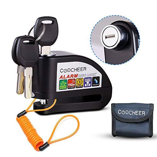 Pujuas Candado Disco Moto, Bloqueo para Moto con Alarma De Acero Inoxi