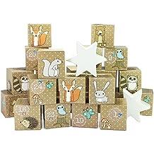 Calendario de Adviento - DIY Set - 24 cajas de cartón - animales del arbolado - para la fabricación y llenado