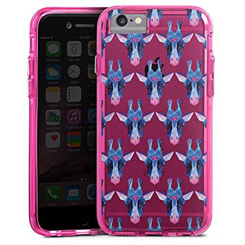 Apple iPhone 8 Bumper Hülle Bumper Case Glitzer Hülle Motiv ohne Hintergrund Space Giraffe Weltall Bumper Case transparent pink