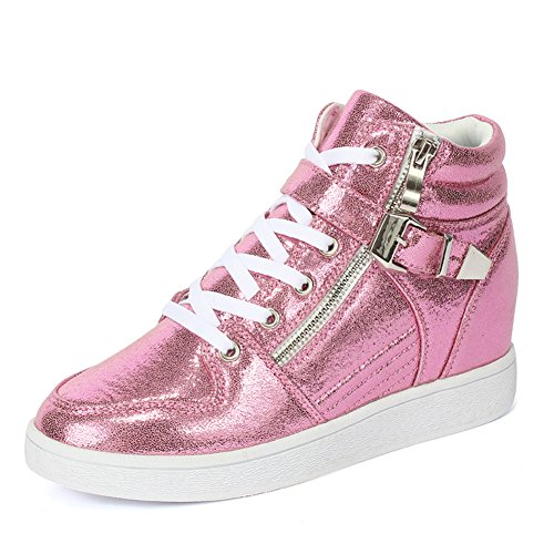 Damen Sneakers Schnürer Glänzende Aufzug Keilabsatz Lässige Herbst Skateboardschuhe Pink rMRQW