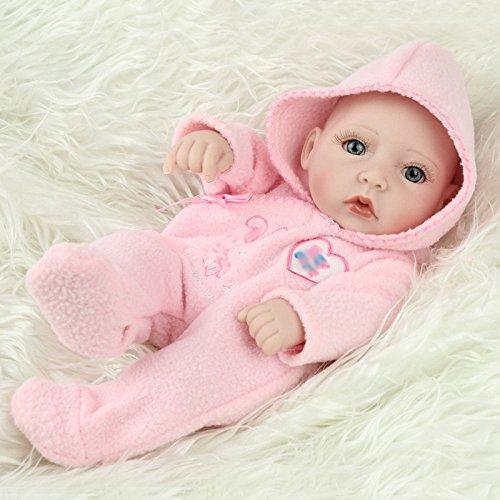 GHCX Puppe Baby Spielen Haus Niedlich Simulation Wiedergeburt Puppe Kinder Geschenk Weichen Kunststoff Bad Spielzeug 28 cm,PinkGirl