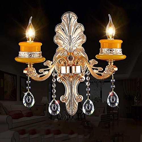 DSJ Europäische Wandleuchte LED Treppe Wandleuchte Wohnzimmer Schlafzimmer Kristall Wand Lampe Gang Lampe Kerze Nachttischlampe,Doppelter Kopf Villa Kerze