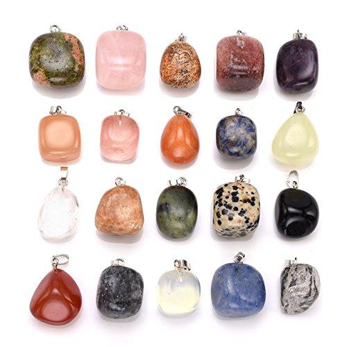 CrystalTears 12x Edelsteine Figur Anhänger CHAKRA KIT Healing Reiki Set + 2 Gratis Box Kette (Unregelmäßig Stein) - Chakra-anhänger Gelbe