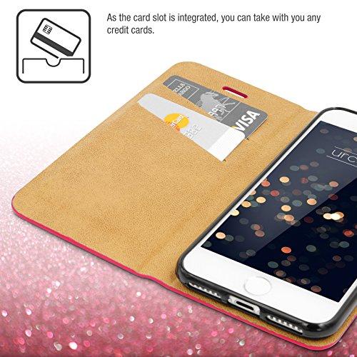 Urcover® Bling Glitzer Apple iPhone 7 Wallet | Handy Schutz-Hülle in Gold | Kartenfach & Standfunktion | Flip-Cover mit Magnet-Verschluss | Kunststoff Glitzer Case mit Strass-Steinen | Smartphone Zubh Pink