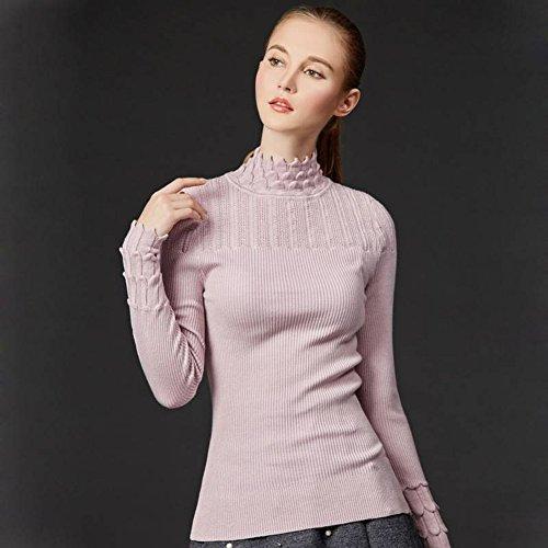 Good dress Damen Pullover Sets von Semi-Hohen Kragen Pullover Slim All-Match-Primer-Pullover , Rosa , Einheitsgröße
