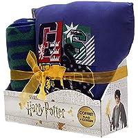 Sahinler Coffret cojín + Plaid Harry Potter, 100% poliéster, Azul, 100x 130cm + 35x 35cm