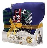 Sahinler Coffret Coussin + Plaid Harry Potter, 100% Polyester, Bleu, 100x130cm + 35x35 cm