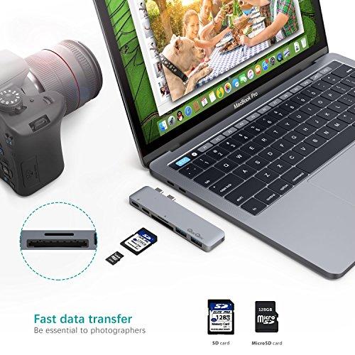MacBook Pro 2016/2017 USB C Hub EgoIggo Aluminium Type C Adapter mit Thunderbolt 3 (Pass-Through Aufladen & Datenübertragung), USB-C Schnittstelle (Datenübertragung, 5Gbps), SD/Mikro-SD Kartenleser und 2 USB 3.0 Ports (Grau)