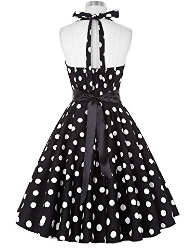 Damen Polka Dots Sommmerkleid Knielang Cocktailkleid S CL4599-1 -