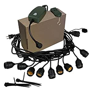 Outdoor Patio String Lights Bistro Cafe Backyard Lighting BALFER Extension Cord Light (Extension Cord & Remote Control Set)