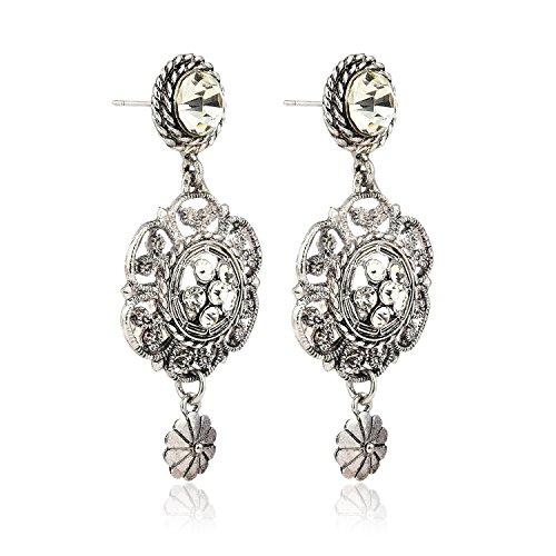 Crunchy Fashion Jewellery Oxidised Silver Plated Stylish Earrings for Girls Fancy Party Wear Earrings for Women