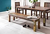 FineBuy Kalkutta Sitzbank 160 x 45 x 38 cm | Mango Massivholz Esszimmerbank | Landhaus Holzbank für 3-4 Personen | Shabby Chic Bank für Esszimmer-Tisch - Bootsholz