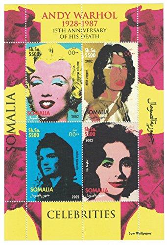 Briefmarkenblock aus Somalia für Sammler, gezähnt, Motiv: Andy Warhol: Marilyn Monroe. Mick Jagger, Jackie Kennedy, Liz Taylor -