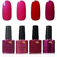 Ukiyo 4PCS empapa del color del esmalte uñas semipermanente desnudo del esmalte de uñas del gel ULTRAVIOLETA del LED 8ml
