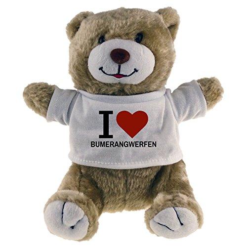 Multifanshop Kuscheltier Bär Classic I Love Bumerangwerfen beige - Lustig Witzig Sprüche Party Stofftier Püschtier