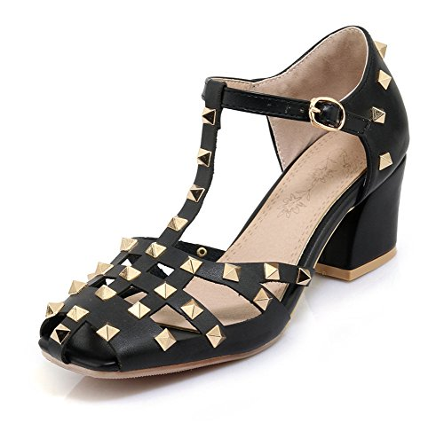 Aisun Damen Kunstleder Cut Out Niete T-Spange Blockabsatz Sandale mit Schnalle Schwarz 40 EU (Sandalen Schritt Klassische Frühling)