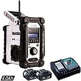 Makita DMR104W Job Site DAB Radio White + 2 x BL1840 Battery & Charger DC18RC