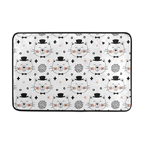 deyhfef Non-Slip Polyester Doormat Cute Cats Washable Entrance Rug Front Door Mats...