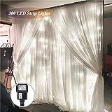 SOLMORE LED Lichtervorhang Lichtkette 3x3m 300LEDs Vorhang Licht 8 Modi Romantisch Licht Schnur String Fairy Lights IP44 Wasserdicht für Hochzeit Decoration Garden Weihnachten weiß