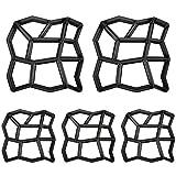 HENGMEI DIY Betonform Gehweg Form Gehwegen Schalungsform Gießform Pflasterform Schablone für Beton, Pflastersteine, Terrassenplatten (5 Stücke, Unregelmäßig)