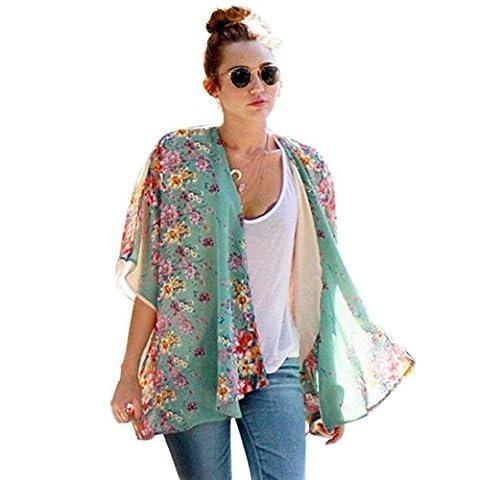 Koly Women Boho Floral Printed Chiffon Shawl Kimono Cardigan Tops
