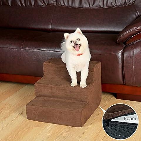 Tragbare Pet Treppen 3Schritte für Hund Katze Soft-Feinbiber-verdeckt Gepolsterter Boden rutschfeste–Braun