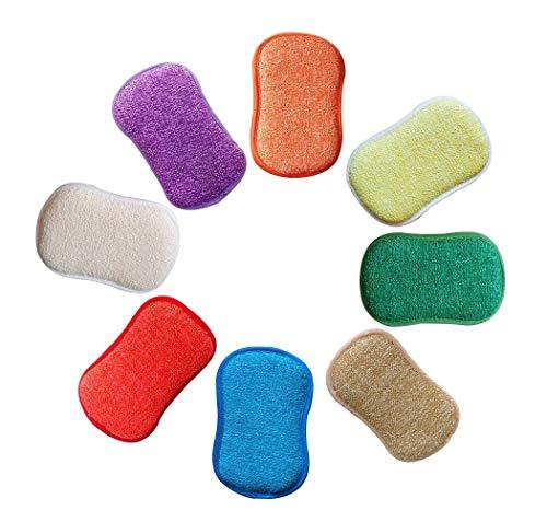 ANTIBAKTERIELLE Mikrofaser Küche Scheuerschwämme Double Side Schwämme Topfreiniger nicht Geruch Gericht Scrubber, ideal für antihaftbeschichtete Pfannen Töpfe, 5Stück zufällige Farben