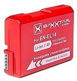 Baxxtar Pro Akku für Nikon EN-EL14 EN-EL14a (1100mAh) Intelligentes Akkusystem für D3100 D3200 D3300 D3400 D3500 D5100 D5200 D5300 D5500 D5600 usw.