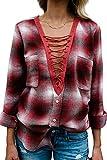 Damen Kariert Blusenshirt V-Ausschnitt Langarm Hemd Locker Bluse Casual Langarmshirt Oberteil Tops (Rot, M)