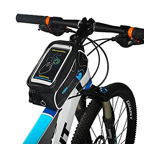 Bike Frame Top Tube Bag, Florally Bicycle Frame Strap Attachment Mount Mountain Road Cycling Tube Waterproof Front Top Storage Crossbar Bike Pannier Pouch with Black Reflective Strip Water Resistant Universal Cell Phone Bicycle Handlebar & Motorcycle Holder Cradle