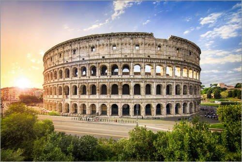 Poster 60 x 40 cm: Kolosseum in Rom Italien bei Sonnenuntergang von Jan Christopher Becke - hochwertiger Kunstdruck, neues Kunstposter