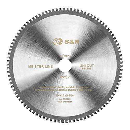 S&R Kreissägeblatt 254 x 30 x 3,2 mm 96T Multimaterial Uni Cut 96 Hartmetallzähne