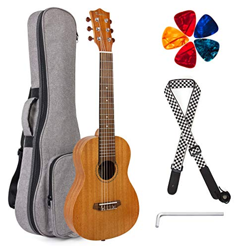 Kmise - Ukelele para guitarra (madera de caoba, 76 cm)