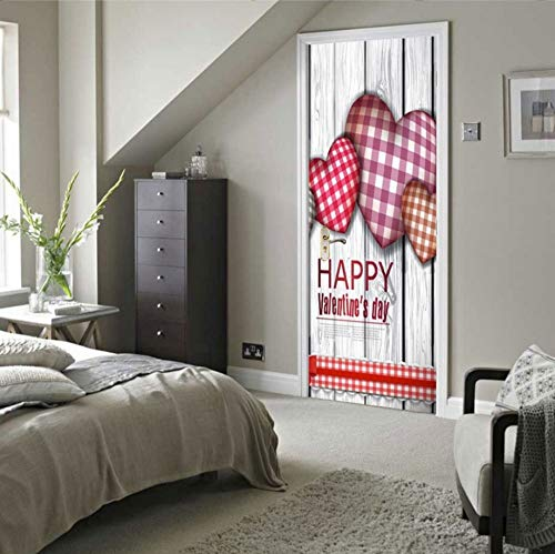 LXHLXN 3D kleine frische und glückliche tägliche quadratische Herzen kreative Dekoration Schlafzimmer Wohnzimmer abnehmbare Tür Wandaufkleber (Tägliche Anrufer)