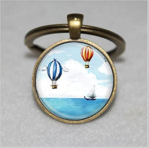 Nautical Keychain ,Sail Boat and Hot Air Balloons Ship Keychain,Sailing, Boating, Ocean Keychain,Unique Key Ring Customized Gift,Everyday Gift Key