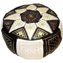 Cuero Feria de Marruecos Estrella Puff - Elija entre 10 colores (Negro)