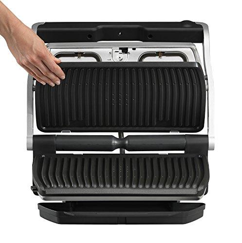 Tefal OptiGrill XL GC722D Kontaktgrill (mit XL-Grillfläche, Plus-Modell mit zusätzlichen Temperaturstufen, 2.000 Watt, automatische Anzeige des Garzustands, 9 voreingestellte Programme) schwarz/silber - 5