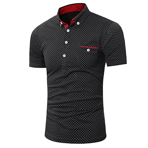 Poloshirt Kanpola T-Shirt Herren Slim Fit Polka-Punkt Shirt Sweatshirt Unterhemden Muskelshirt Tee Top Blouse (Damen-gerippte Unterhemden)