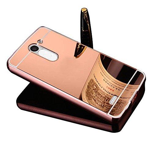 Vandot Caso Funda Carcasa para LG L Bello, Lujo Ultrafino del Metal de Aluminio Espejo Efecto PC Bumper Hardcase Shell Cover - Rosa Rosado