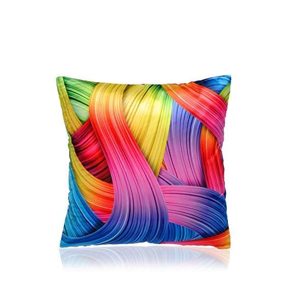 Alina Decor Polyster Satin Printed Decorative Square Cushion Cover/Pillow Covers (Multicolor, 16X16 inches)