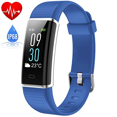 HETP Fitness Armband mit Pulsmesser, Fitness Trackers Schrittzähler Uhr Pulsuhr Wasserdicht IP68 Bluetooth Aktivitätstracker für Kinder Damen Männer mit 14 Trainingsmodi Schlafmonitor Kalorienzähler