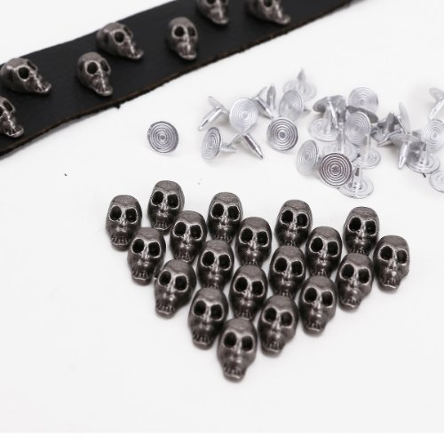 30 x Totenkopf Nieten Ledernieten Motivenieten Punk Metall Basteln fuer Leder Kleidung Tasche