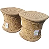 Ecowoodies Cane Wooden Buckeye Eco-Friendly Handicraft Pub Multipurpose High Chair (Beige, 2 Stools)
